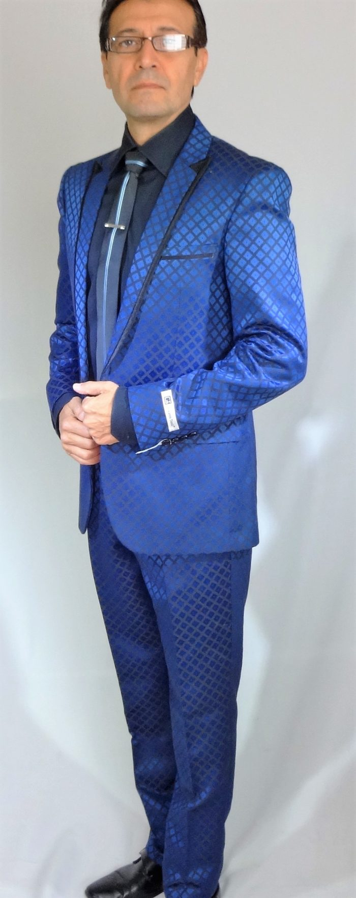GT blue slim fit suit square pattern