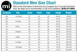 men standard size chart