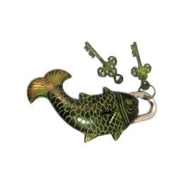 door lock vintage fish bronze with key