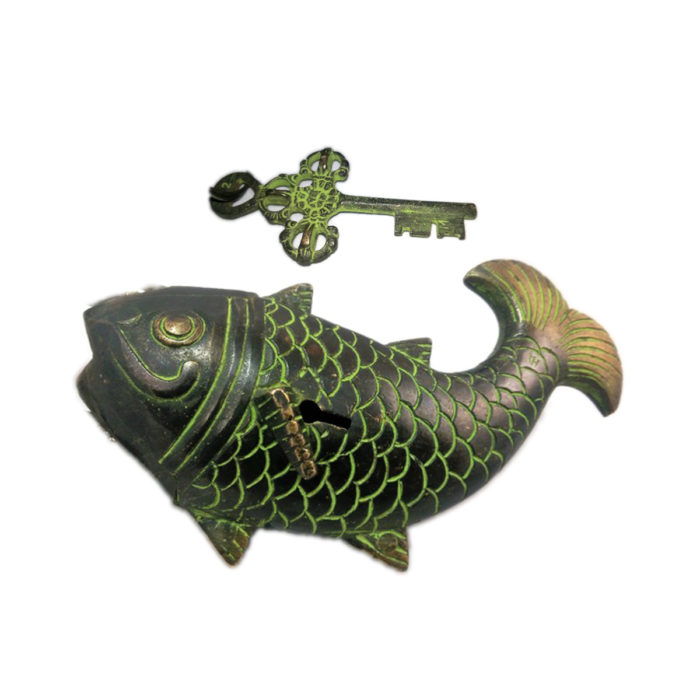 door lock vintage fish bronze with key