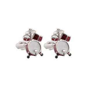 drums musician cuff-links red chrome