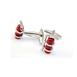 fire fighter cuff-links red chrome