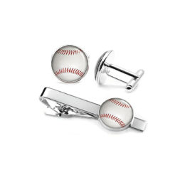 sports baseball tiebars cufflinks set collection