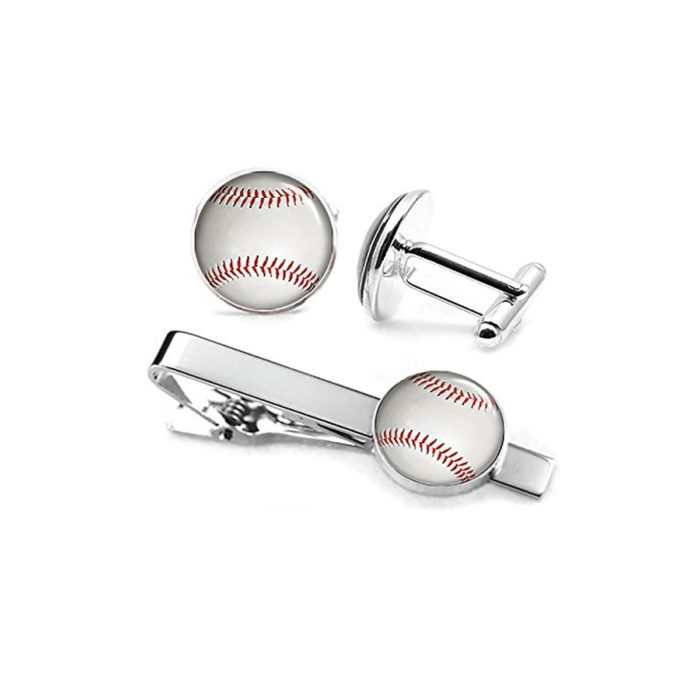 sports baseball tiebars cufflinks set collection