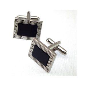 Onyx cuff-links black and platinum formal wear