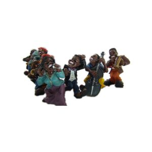 statue street jazz musician 8 piece band collection
