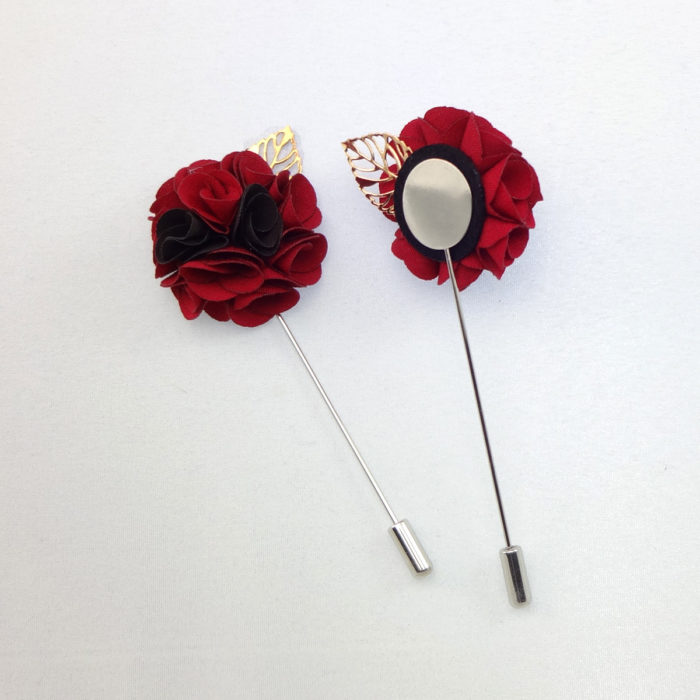 collar pins silk lapel flower Red