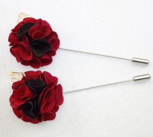 collar pins silk lapel flower Red