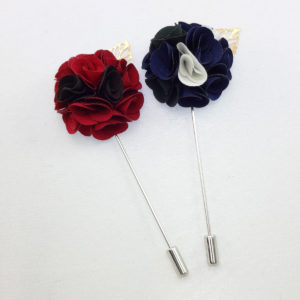 collar pins silk lapel flower Red and Black