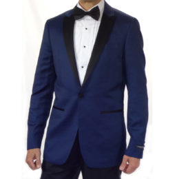 Navy Tuxedo on button black pants