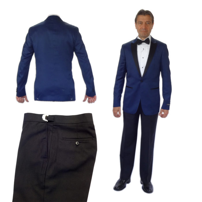 Blue on Black one button tuxedo