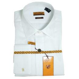 Enzo White Lay-Down Pique Tuxedo Shirt