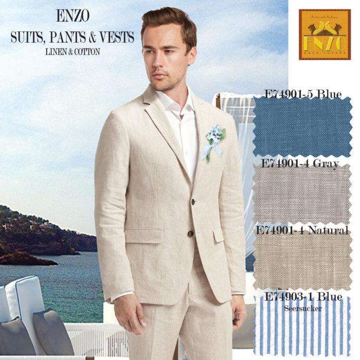 Enzo Linen suits in four colors