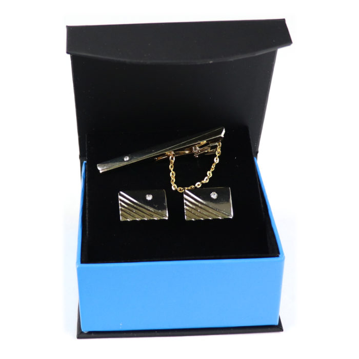 Diamond Tie bar Cufflink Set 2""