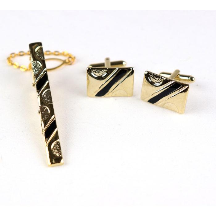 """Black Gold Tie bar Cufflink Set 2"""""""