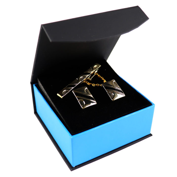 Black Gold Tie bar Cufflink Set 2""