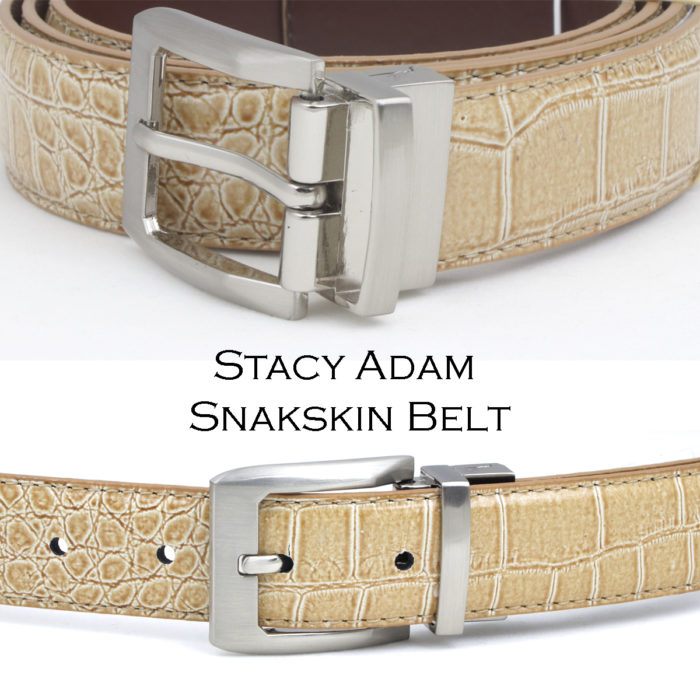 Stacy Adam Croc Leather belt Tan