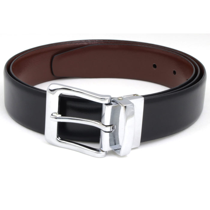 Black leather dress belt 101 for men