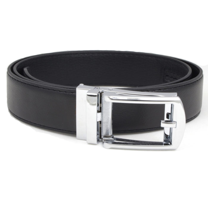102 Black leather dress belt for men