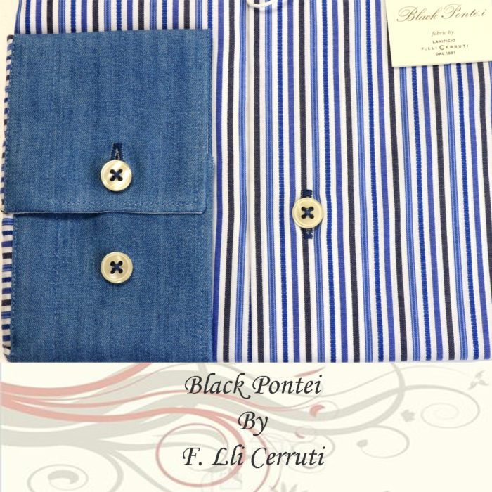 Cerruti Dress shirts banker-stripe Blue