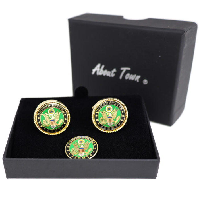 US Army cufflink & Collar pin gift set