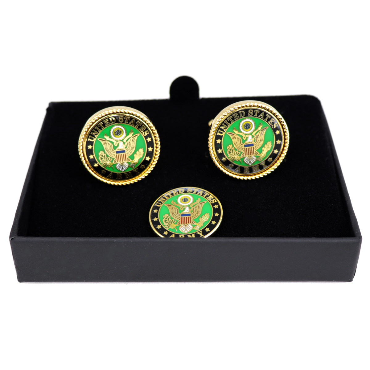 US ARMY Gold Rope Bezel Cuff links + lapel pin