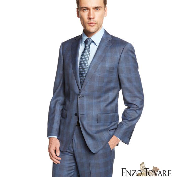 Enzo Blue Gray Plaid Suit