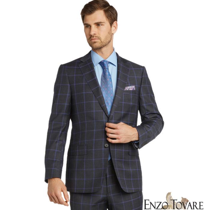 Enzo Grey Blue Windowpane Suit