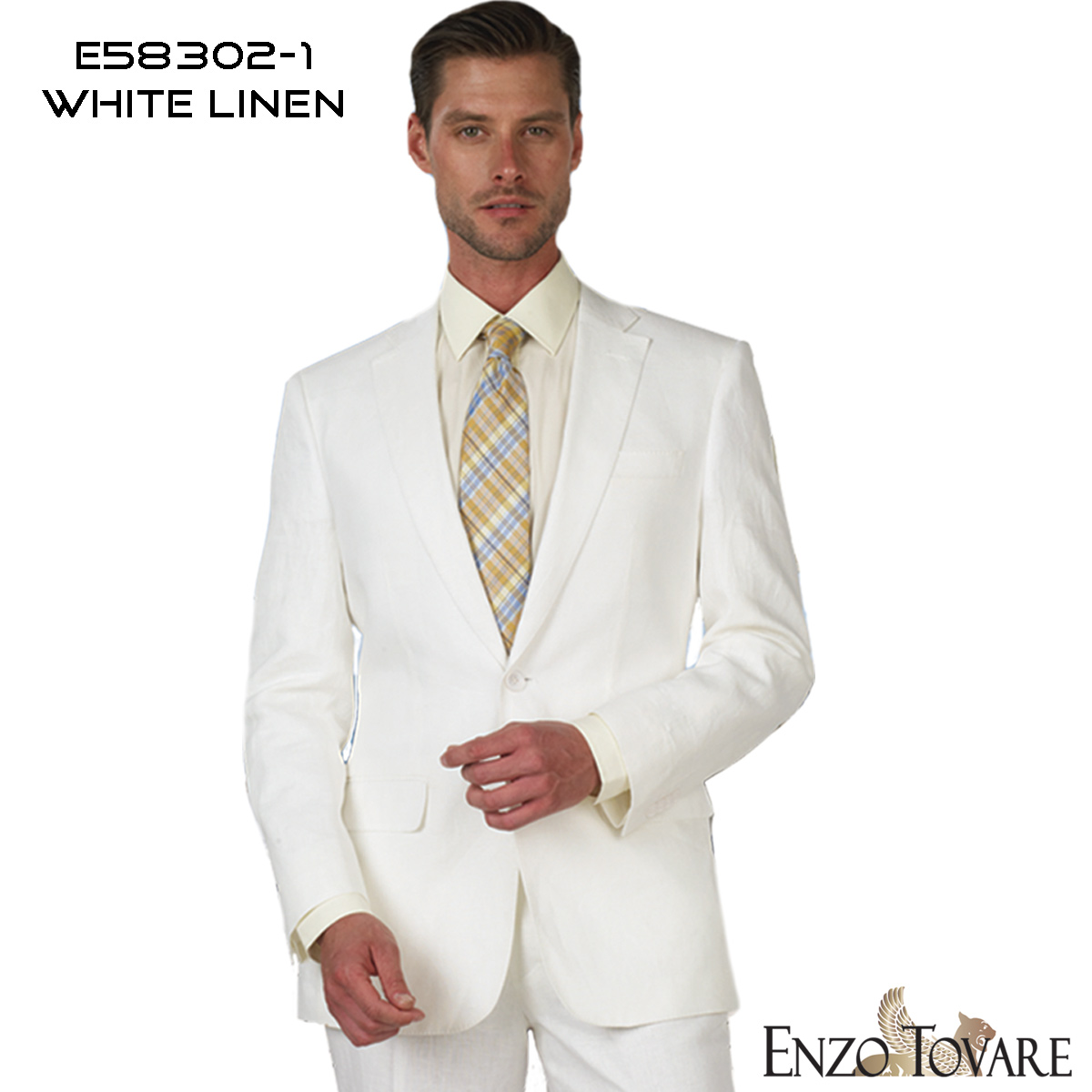 fa60677bb1f Home   Suit   Suits   ENZO White Linen 2-Button Suit