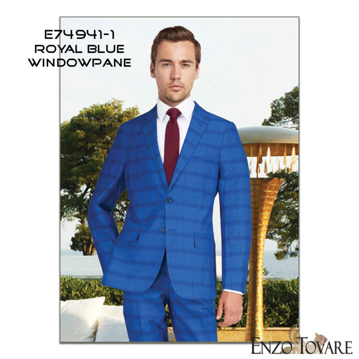 Enzo linen suits blue windowpane