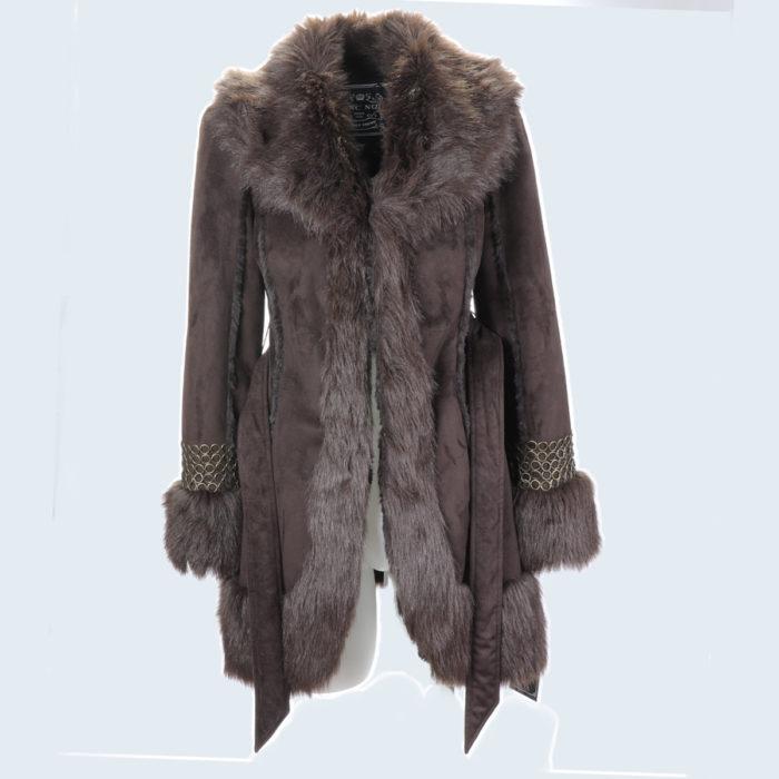 Blanc Noir Brown Chainlink Wrap Coat