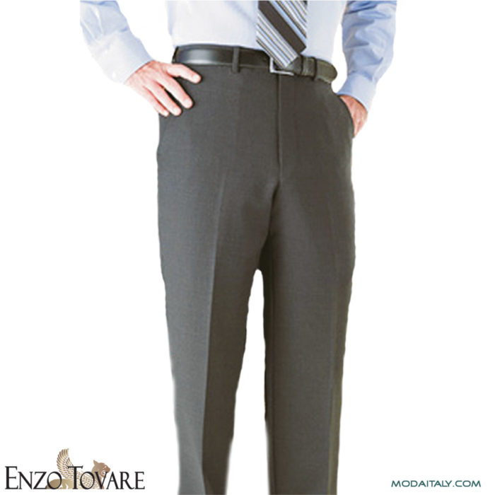 Enzo Charcoal Super Wool Flat-front Trousers