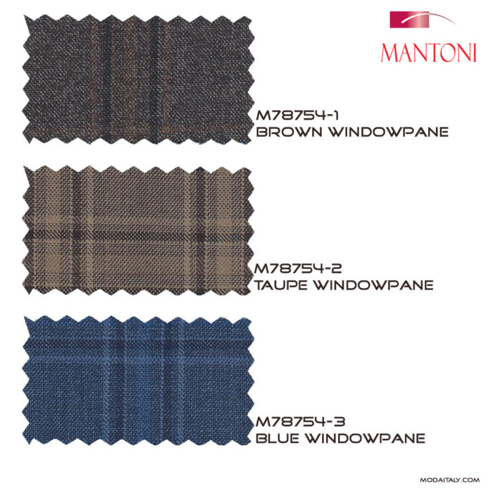 Mantoni Blue BUG Wool Windowpane Blazer Fabrics