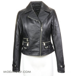 BNCI Black Leatherette Biker Jacket