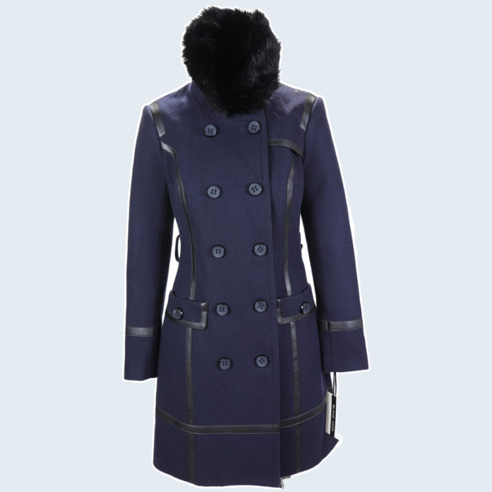 Blanc Noir Navy Abby Fur Wrap Coat