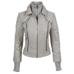 Grey Studded Lambskin Leather