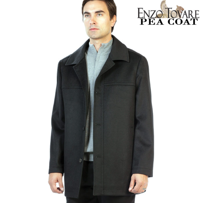 Pea Coat Jacket in Black