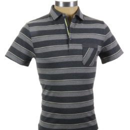 SMASH Polo Shirt Charcoal Stripe