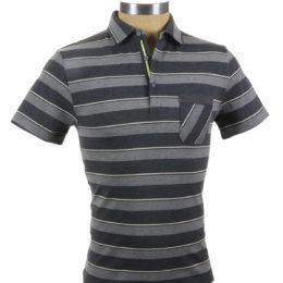SMASH Polo Shirt Charcoal Stripe