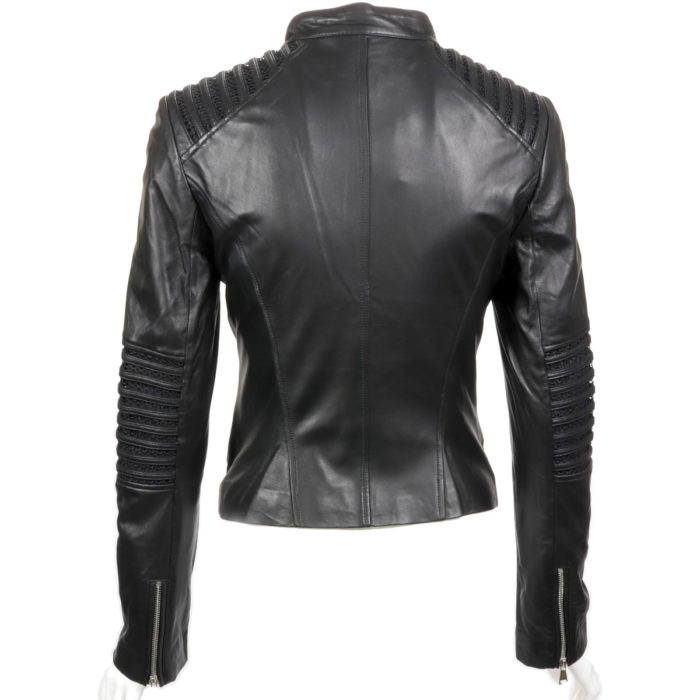 Black Lamb Leather Knit Mix Moto Jacket