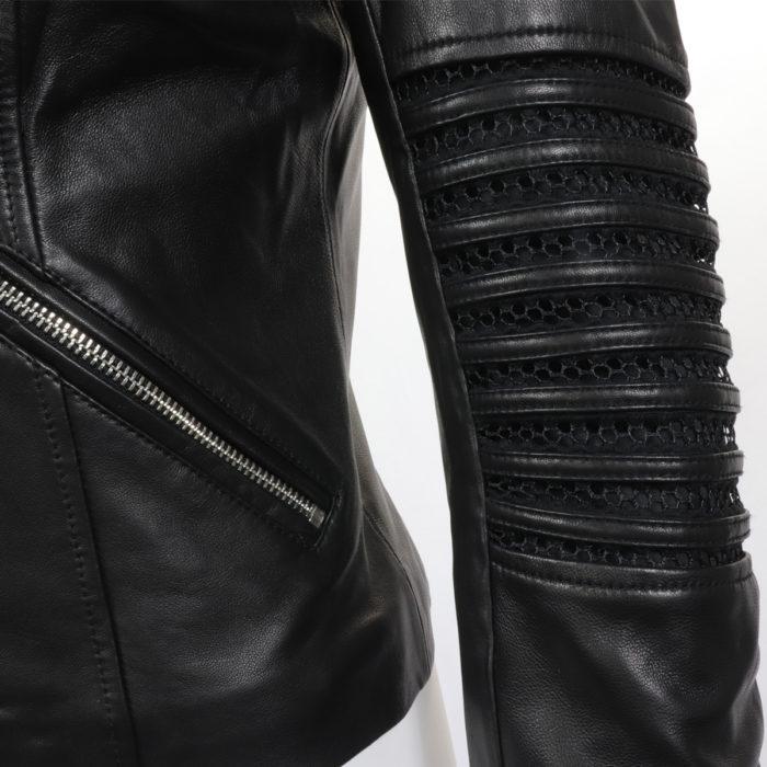 Black Lamb Leather Knit Mix Moto Jacket