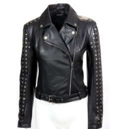Black Studded Leatherette Biker Jacket