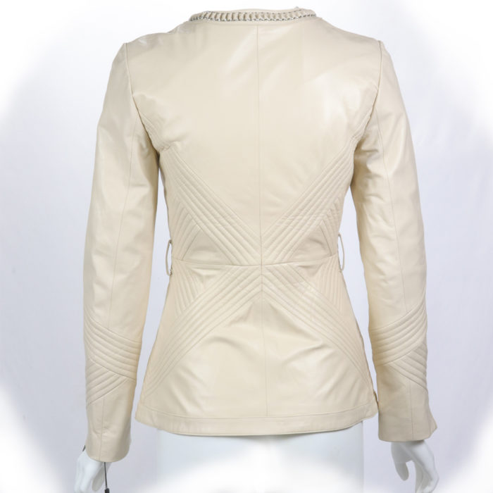 Beige Lipstick Lamb Leather Jacket