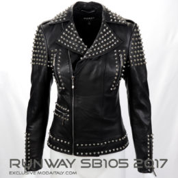 Black Studded Lambskin Leather Biker Jacket