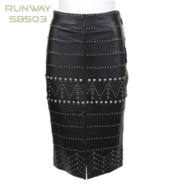 Runway NY Studded Leather Front Midi Skirt