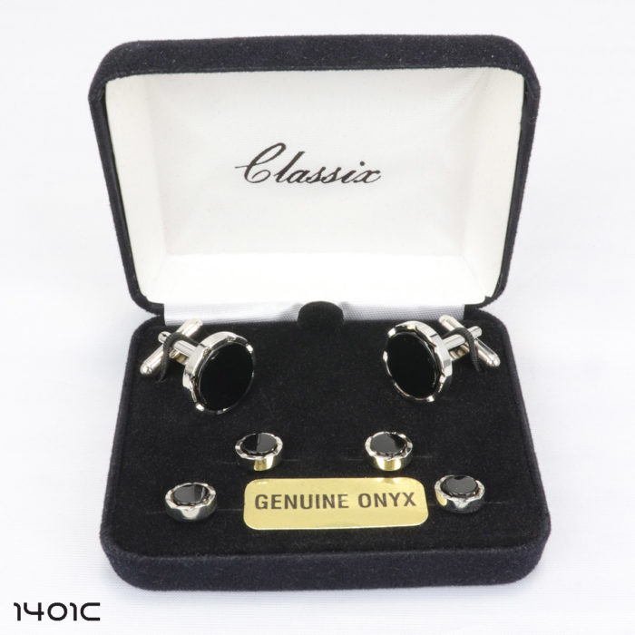 Onyx Round Castle Cufflink and Stud Set