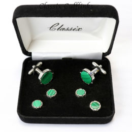 Round Castle Malachite Cufflinks & Studs Set