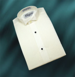 "Boy's Wing Tuxedo Shirts 1/4"" Pleat 3 Colors"