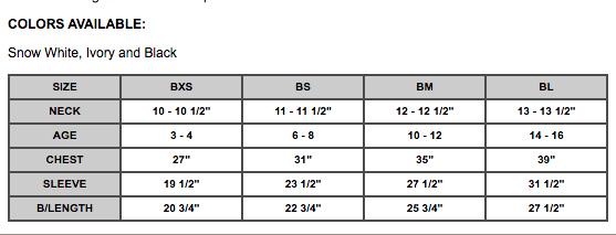 Boys dress shirt size chart Classix