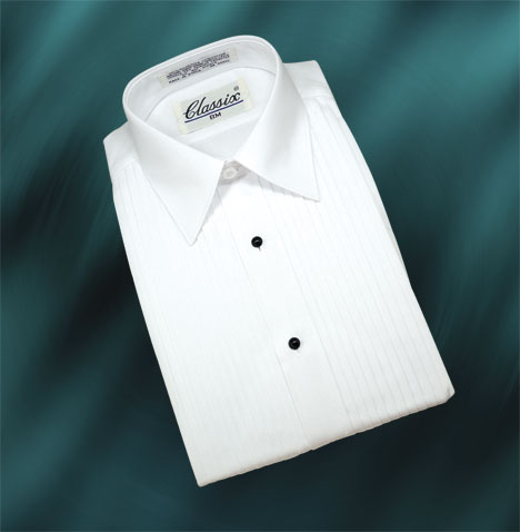 "Boy's Wing Tuxedo Shirts 1/4"" Pleat 3 Colors"
